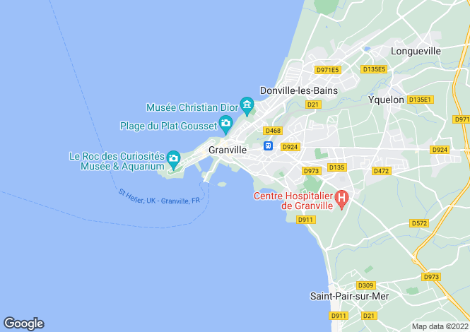 Map for Normandy, Manche, near Granville