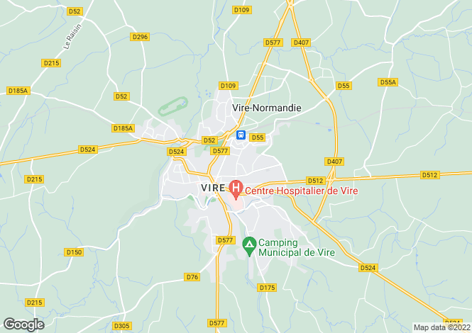 Map for Normandy, Calvados, near Vire
