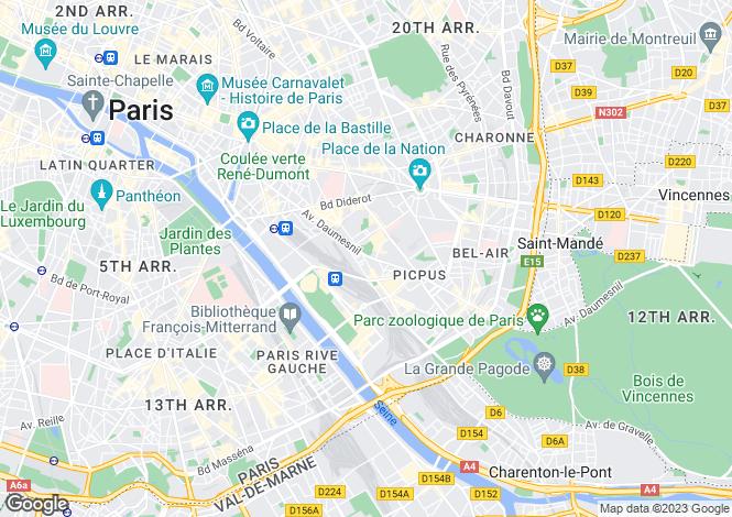 Map for Paris 12th (Quinze-Vingts), 75012, France
