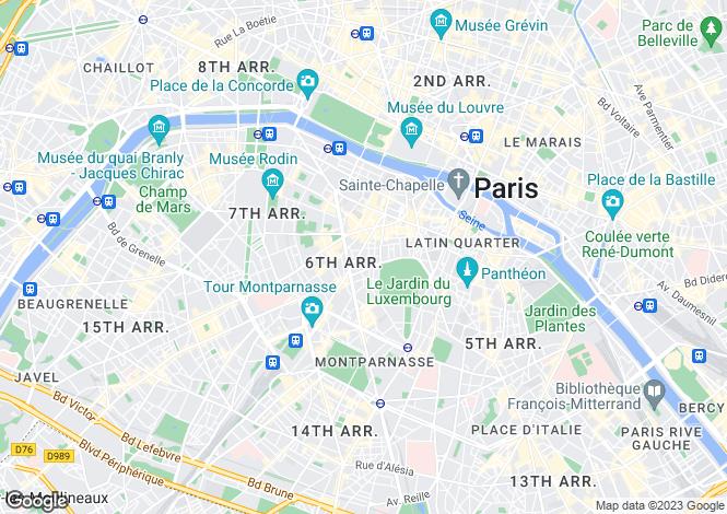 Map for 6th arrondissement, Paris, France