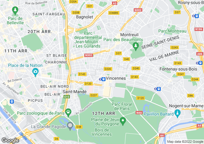 Map for Paris-Isle of France, Val-de-Marne, Vincennes