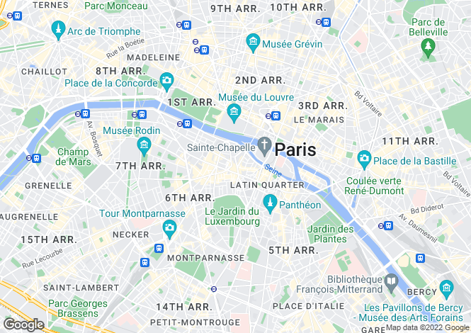 Map for Saint Germain Des Pres, Mabillon, Paris