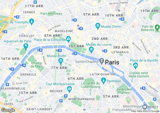 Map for Quai Voltaire, Louvre, Paris