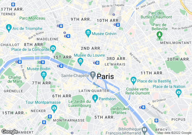Map for Paris 3rd Arrondissement, 1st, 2nd, 3rd and 4th Arrondissement, Paris,
