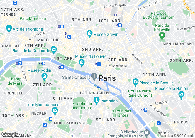 Map for Paris 8th Arrondissement, 8th and 17th Arrondissement, Paris,