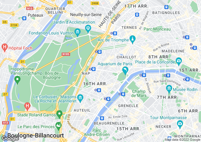 Map for 16th arrondissement, Paris, France