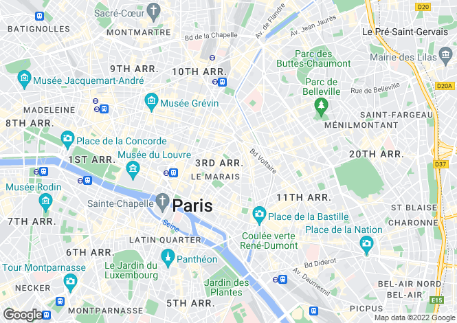 Map for 3rd arrondissement, Paris, France