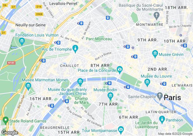 Map for Avenue Montaigne, Franklin Roosevelt, Paris