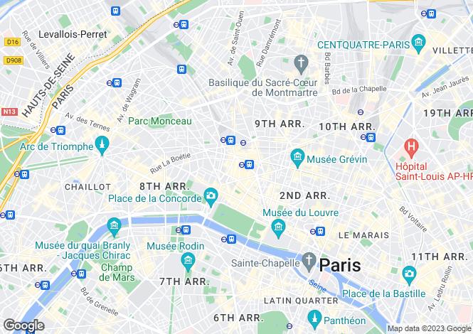 Map for Madeleine, Havre-Caumartin, Paris