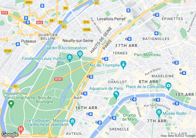 Map for Dauphine - Foch, Paris 16th