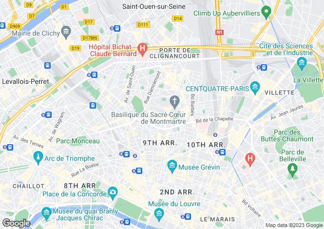 Map for Amelie Poulain, Montmartre, Paris