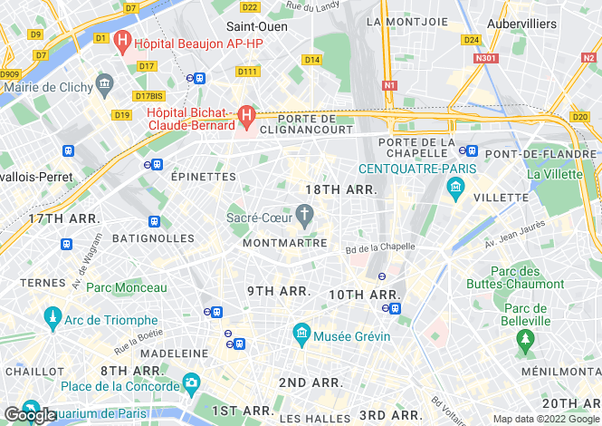 Map for Paris-Isle of France, Paris, Paris 18