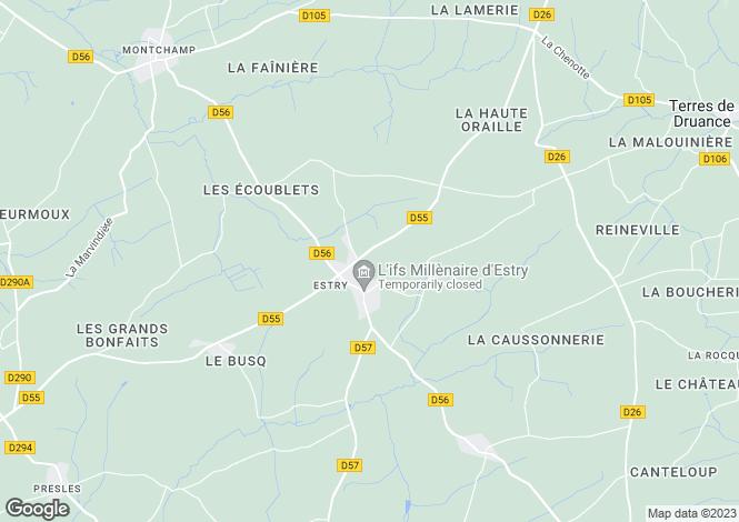 Map for Normandy, Calvados, near Estry