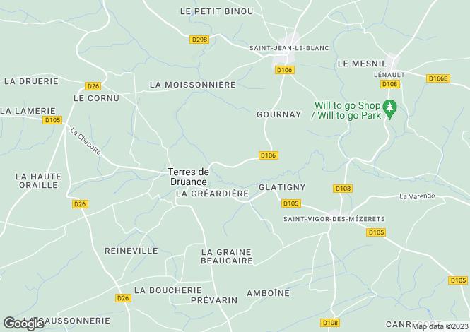 Map for Normandy, Calvados, Lassy