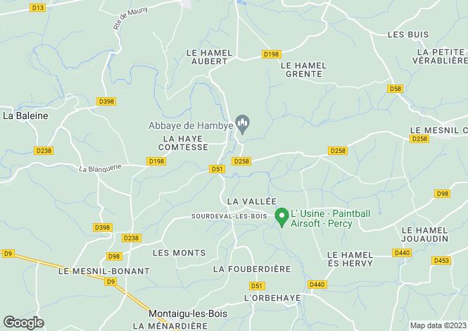 Map for Normandy, Manche, Sourdeval-les-Bois