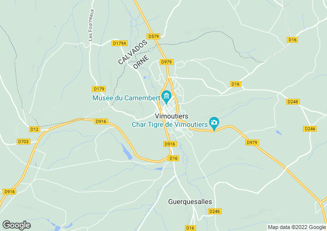 Map for Vimoutiers, Orne, Normandy
