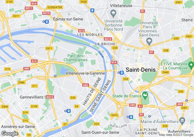 Map for Paris-Isle of France, Hauts-de-Seine, Villeneuve-la-Garenne