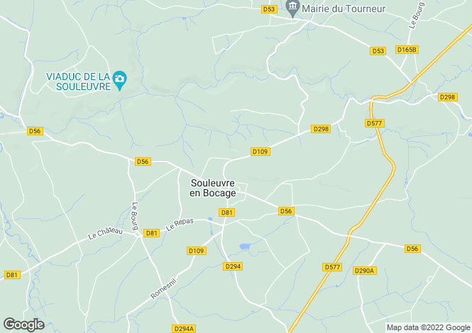 Map for Normandy, Calvados, Le Beny Bocage