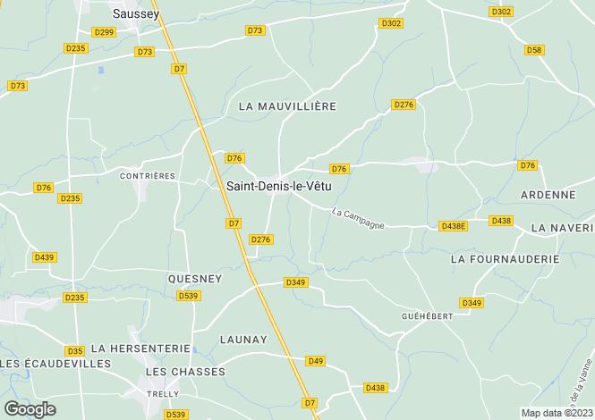 Map for St-Denis-le-Vêtu, Manche, Normandy