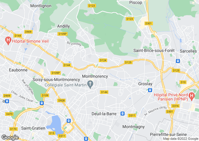 Map for montmorency, Val d'Oise, France