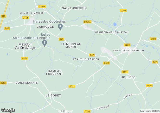 Map for Normandy, Calvados, Les Authieux-Papion