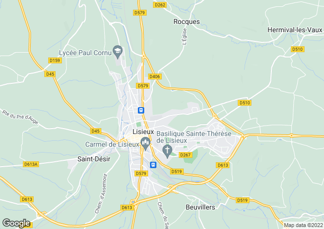 Map for Pays D'Auge Valley, Lisieux Countryside, Normandy