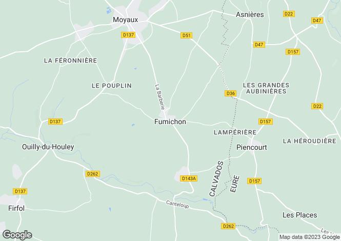 Map for Normandy, Calvados, Fumichon