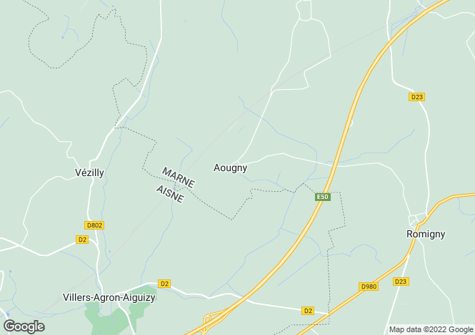 Map for aougny, Marne, France