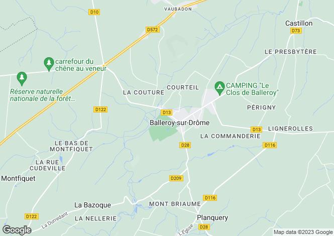 Map for Normandy, Calvados, Balleroy