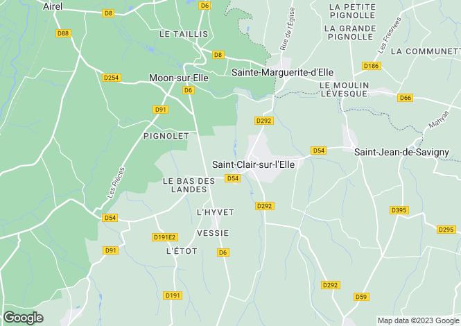 Map for Normandy, Manche, Saint Clair sur l'Elle