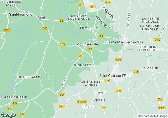 Map for moon-sur-elle, Manche, France