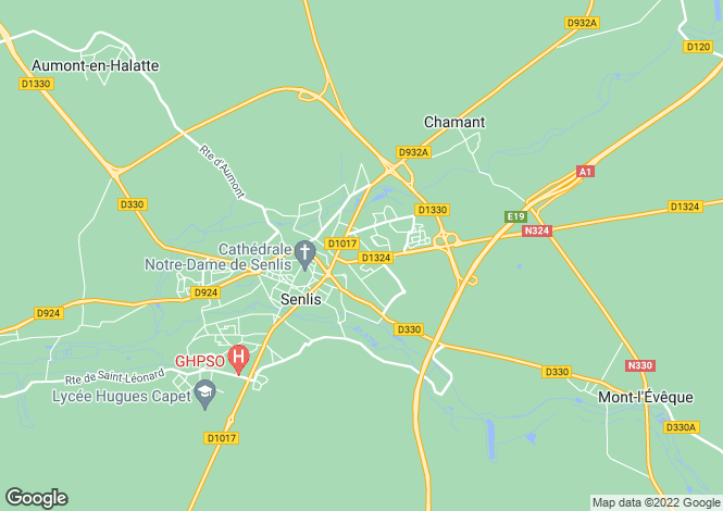 Map for senlis, Oise, France