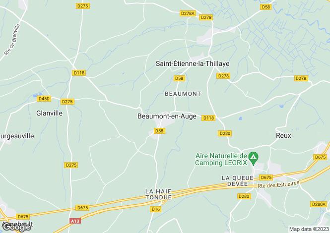 Map for beaumont-en-auge, Calvados, France