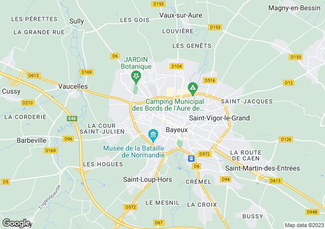 Map for Bayeux, Calvados, Normandy