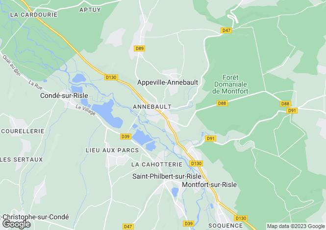 Map for appeville-annebault, Eure, France