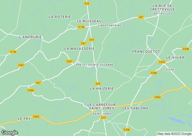 Map for Normandy, Manche, Prétot-Ste-Suzanne