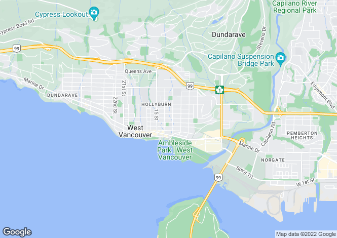 Map for British Columbia, West Vancouver
