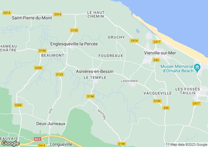 Map for asnieres-en-bessin, Calvados, France