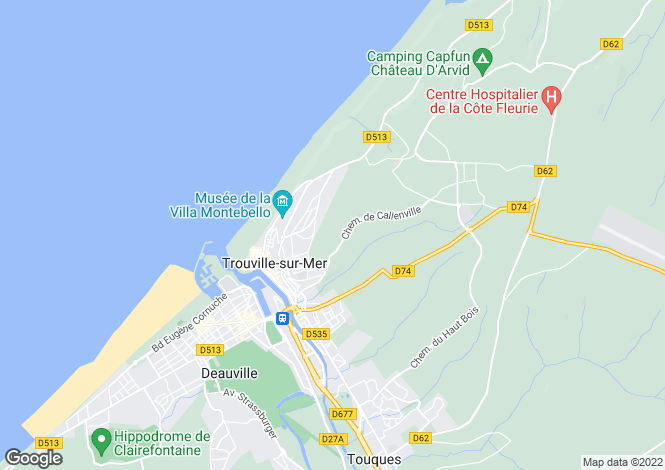 Map for Normandy, Calvados, near Trouville