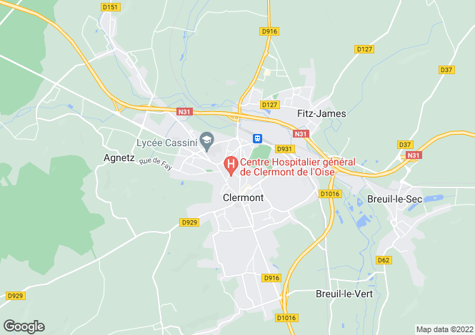 Map for clermont, Oise, France