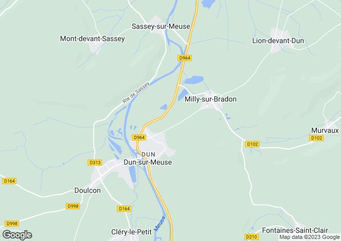 Map for Lorraine, Meuse, Dun-sur-Meuse