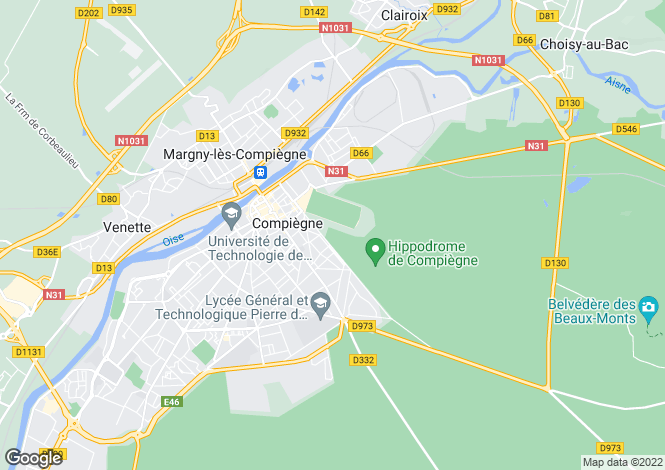 Map for compiegne, Oise, France