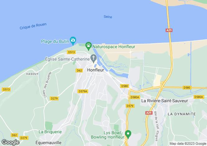 Map for Honfleur, Calvados, Normandy