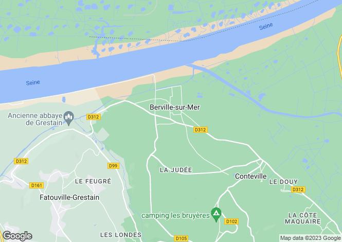 Map for Berville-sur-Mer, Eure, Normandy
