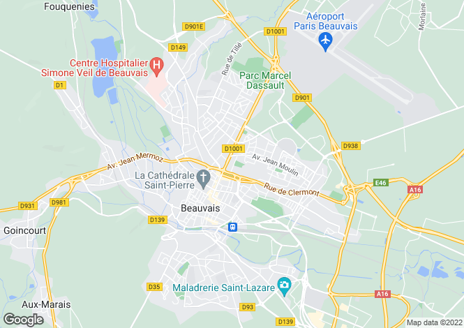 Map for -beauvais, Oise, France
