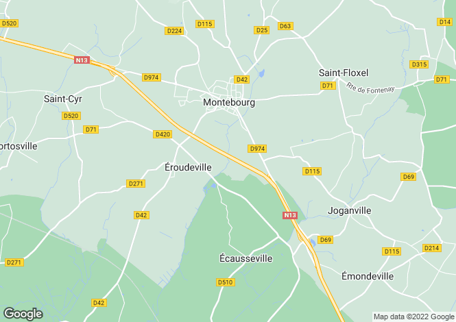 Map for Normandy, Manche, near Montebourg