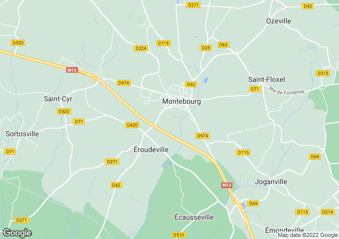 Map for Normandy, Manche, Éroudeville