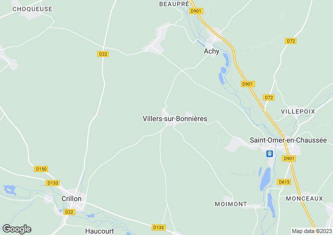 Map for Picardy, Oise, Villers-sur-Bonnières