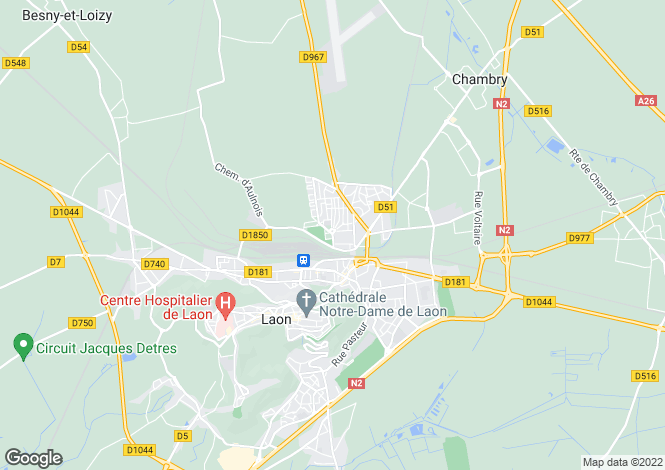 Map for Picardy, Aisne, Laon
