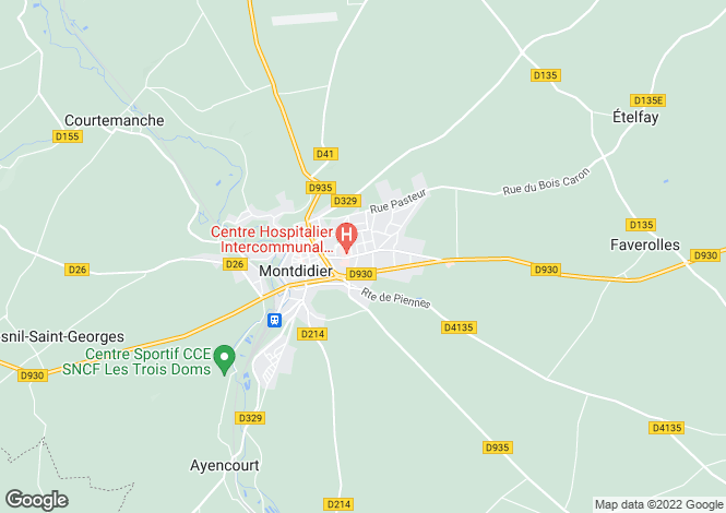 Map for Picardy, Somme, Montdidier